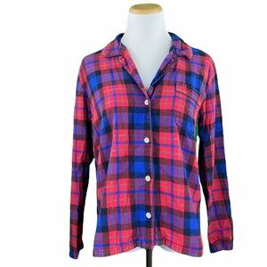 J. Crew Red Plaid Button Down Flannel Sleep Shirt